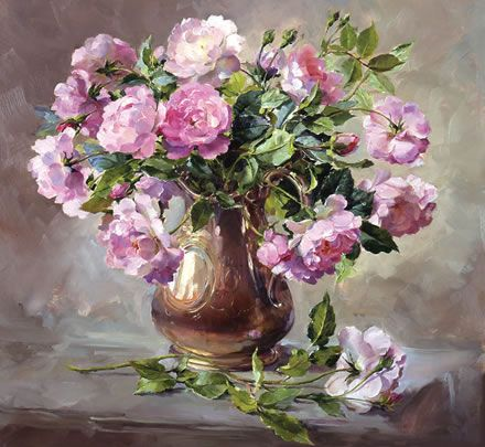 Pink Roses - Limited Edition Print | Mill House Fine Art – Publishers of Anne Cotterill Flower Art