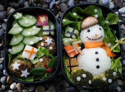 Snowman winter Christmas Bento. #bento #food #christmas #snowman