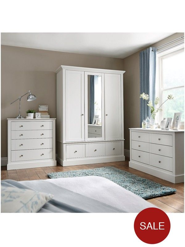 Consort Dover Ready Assembled Wide Chest Of 6 Drawers In White Or Fabulous New Greytraditionally Styled