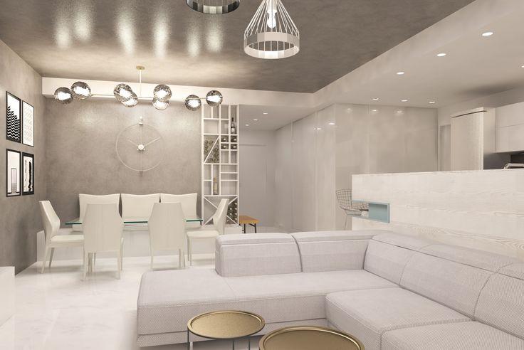 #white #emeraldgreen #beige #livingroom #lights #curtains #spots #sofa #chairs #table #shelves #wood #plants # #glasstable #whitechairs #ceilinglamp #kitchen