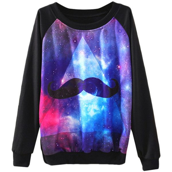 Black Ladies Crew Neck Galaxy Mustache Jumper Printed Sweatshirt (56 RON) ❤ liked on Polyvore featuring tops, hoodies, sweatshirts, shirts, sweaters, galaxy, black, black sweatshirt, black sweat shirt and moustache shirt