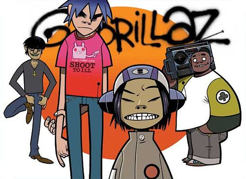 Gorillaz: 2D, Murdoc Niccals, Noodle, Russel Hobbs Real Identity: Damon Albarn and Jamie Hewlett. Collaboration with various artists and Damon.