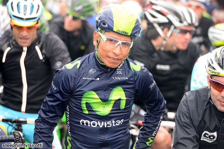 2014 giro-d-italia photos stage-02 - Nairo Quintana (Movistar) and others psyching themselves up for a cold, wet stage