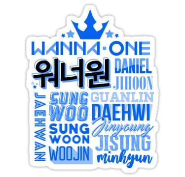 WANNA ONE Font Collage • Also buy this artwork on stickers, apparel, phone cases, and more.