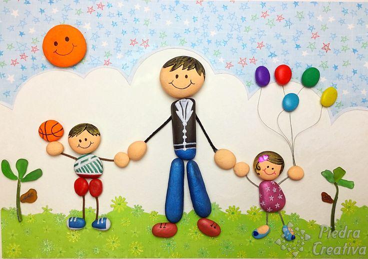 Manualidad que muestra la fuerte unión entre un padre y sus hijos. DIY alegre y colorida realizada con piedras pintadas.