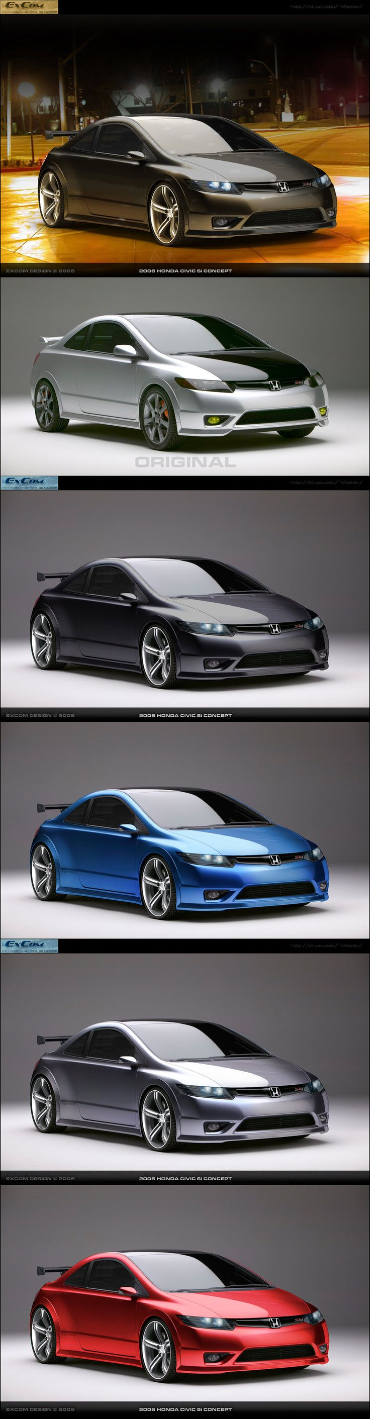 Photochop Portfolio Item Vehicle: 2006 Honda Civic Si Concept Date: 02.19.2005 The 2006 Honda Civic Si concept is stunning as is, but what if it didn't have to share a chassis with lesser Civics? W...