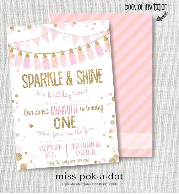 SPARKLE AND SHINE It's Birthday Time Invitation Pink Gold