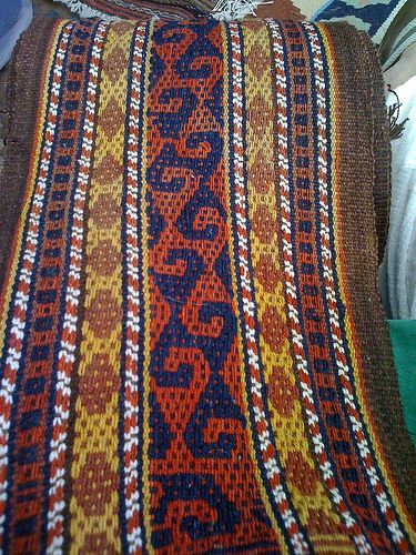 Yurt band from Afghanistan with white cotton in warp.
