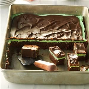 Chocolate Mint Brownies Recipe -One of the best things about this recipe is that the brownies get moister if you leave them in the refrigerator for a day or two. The problem at our house is no one can leave them alone for that long! —Helen Baines, Elkton, Maryland