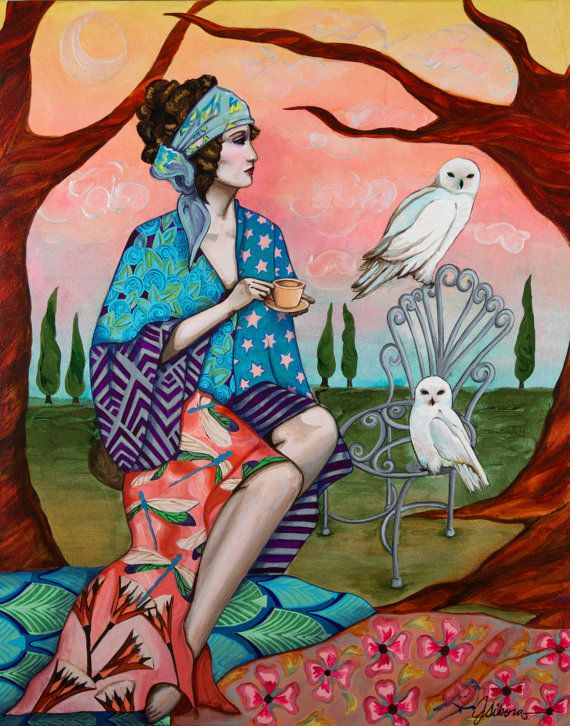 The White Owl and Moon - Original Painting #snowowls #whiteowls