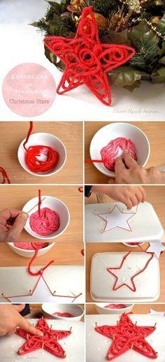 eine weitere #Bastelidee mit Stoff: Diesen #Weihnachtsstern kann man einfach aus einem dicken Stofffaden machen. Die #Bildanleitung zeigt, wie es geht.