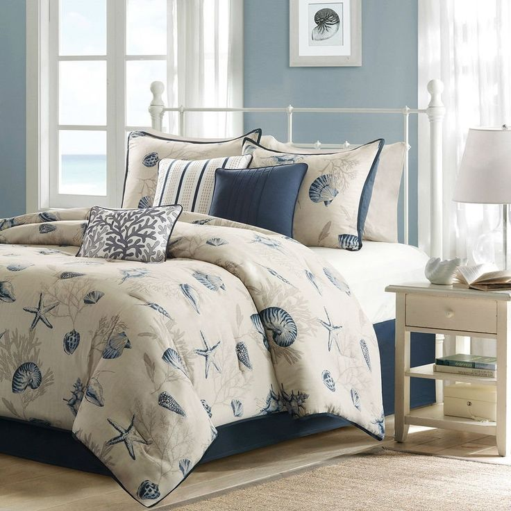 White And Blue Starfish And Seashell Beach Bedding Set In