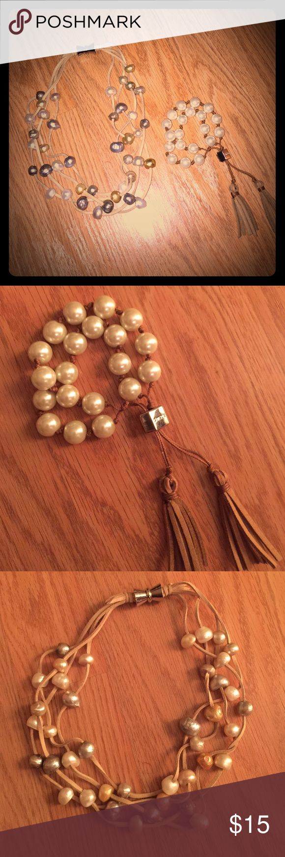 Leather & Pearl Necklace & Bracelet Set From Chicos, never worn. Multi stranded pearl necklace on leather strands. Matching double pearl & leather bracelet. Chico's Jewelry Necklaces