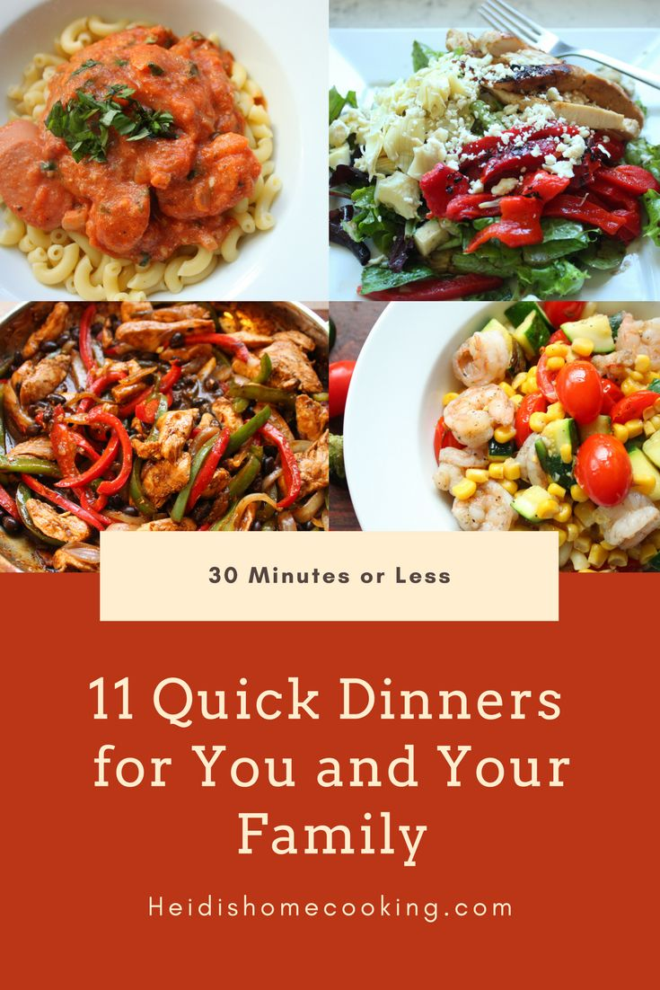 These quick and easy family dinners can be made in 30 minutes or less! Choose from Mexican classics like chicken fajitas or reduced calorie enchiladas or try something new like Thai curry chicken or teriyaki shrimp stir-fry. All the recipes are delicious, simple, and easy to serve up to a hungry crowd. Try one today!
