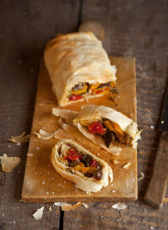 vegetable & mushroom strudel