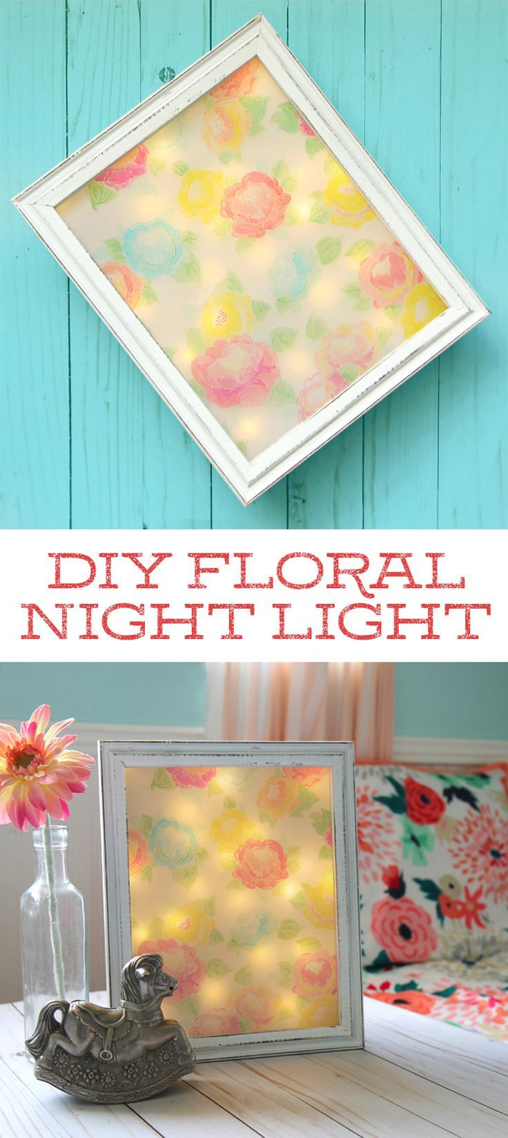 This pretty DIY night light is made using fairy lights, a shadow box and Spectrum Noir alcohol ink markers. You don't have to be an artist to draw the pretty flowers. Decor ideas for little girls rooms.