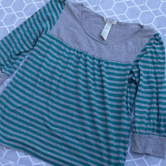 Gray green silver metallic striped tee shirt top Cute smocked top with gray and green stripes and accents of metallic silver. 3/4 sleeves. In nice condition. Smoke free, pet friendly home. xxi Tops Tees - Short Sleeve