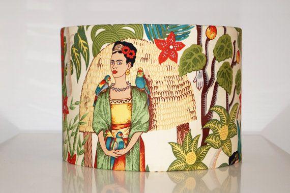 Frida Khalo retro trommel lampenkap. Frida Kahlo, Mexicaans, bloemen bladeren,