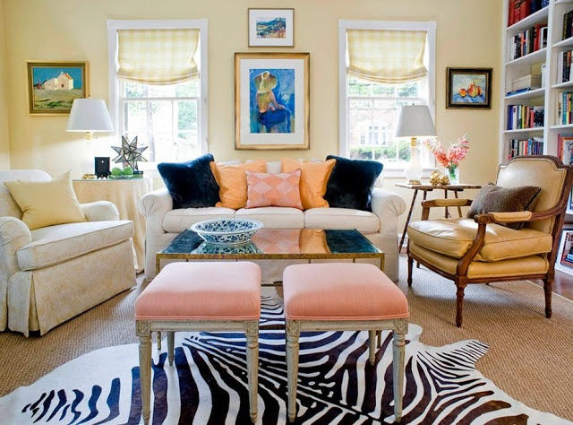 Blue And Pink With Navy Zebra Rug Living Room Design Bright Cheery
