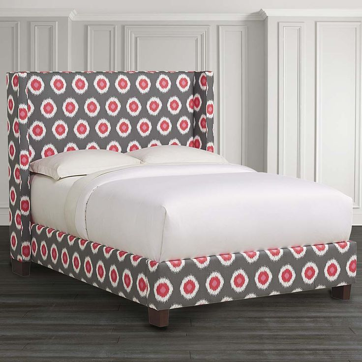 HGTV Custom Upholstered Dublin Winged Bed By Bassett Furniture.
