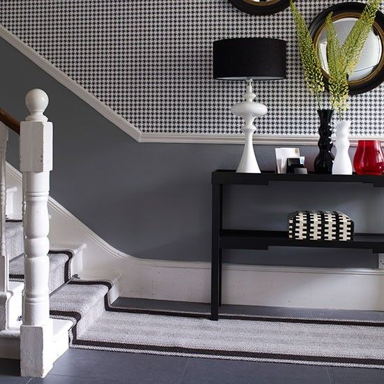 Entrance hall tiled floor striped runner on stairs for Entrance flooring ideas