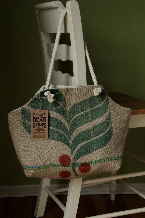 Love The Earth Treasury Recycled Burlap Coffee Sack Market Tote Brazil Leaf