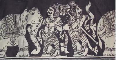 Ranjana's Craft Blog: Kalamkari border attached -Saree