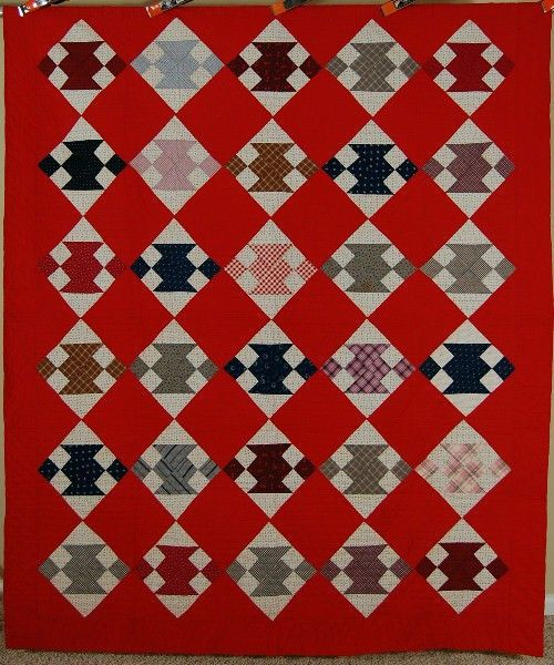 1890's Jacob's Ladder Antique Quilt ~VIBRANT Early Vintage Fabrics & RED GROUND, eBay, french72
