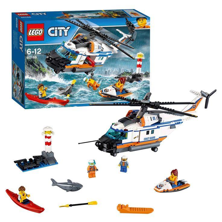 Start de LEGO City kustwachthelikopter voor een nieuwe reddingsactie! Vlieg in de richting van de vuurtoren, waar iemand in een kajak zonder peddel drijft. Breng de laadklep van de helikopter omlaag en ga met de jetski het water op om de peddel op te halen. Laat de takel uit de helikopter zakken en hijs de drenkeling op. Wel snel zijn: die haai komt dichterbij! En kijk, alweer een succesvolle reddingsactie van de LEGO City kustwacht! Afmeting:verpakking 38 x 26 x 9,5 cm. - LEGO City 60166…