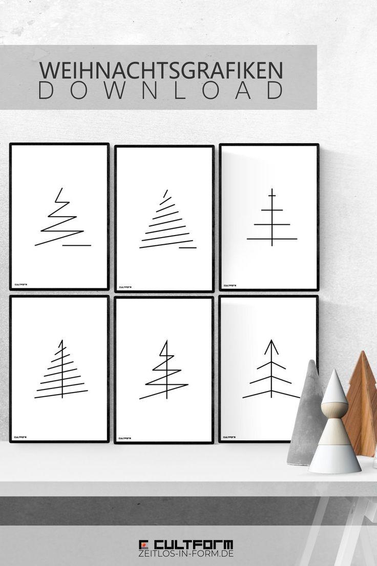 Minimalistische Weihnachtsgrafiken zum Download. V…