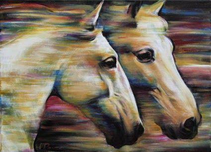 RUNNING HORSES | LAUFENDE PFERDE Jana Fox & Oleg Dyck [J&O Art Studio Cologne]  29.5 '' x 21.7 '' | 75 x 55 cm Alkyd, Acrylic, Oil on canvas