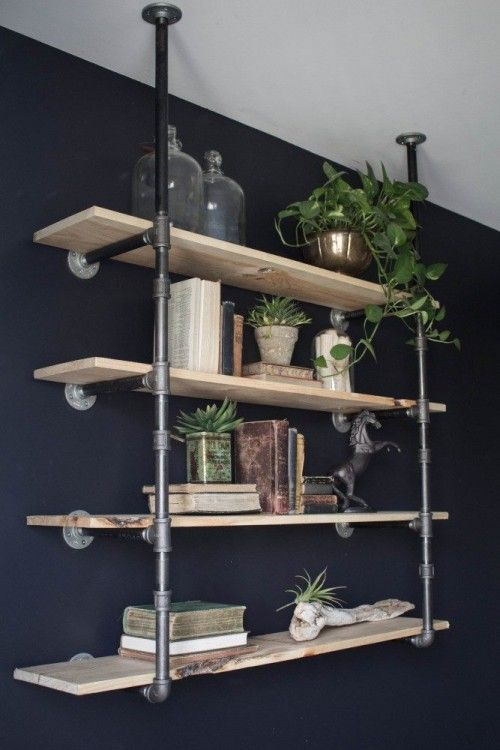 Diy open pipe shelving industrial magnolia homes and Open shelving