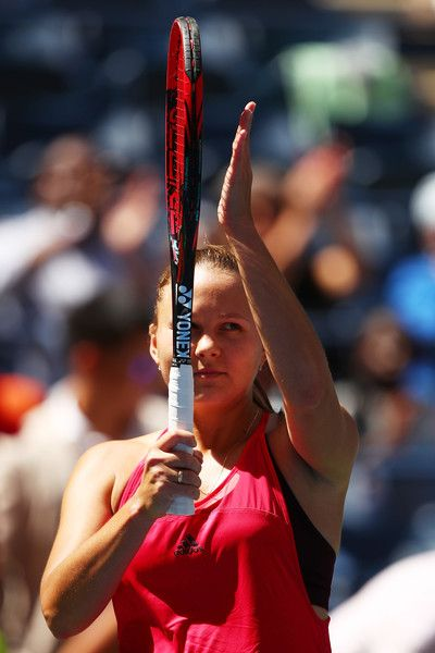 Evgeniya Rodina of Russia celebrates defeating Eugenie Bouchard of Canada after their first round Women's Singles match on Day Three of the 2017 US Open at the USTA Billie Jean King National Tennis Center on August 30, 2017 in the Flushing neighborhood of the Queens borough of New York City.