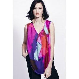 LIQUORISH ART LOVER WATERFALL FRONT TOP Vibrant multicoloured print top with a flattering waterfall style drape