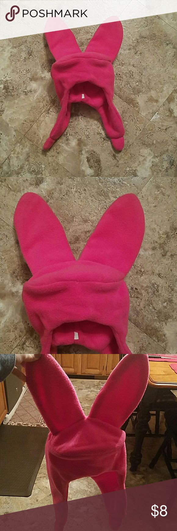 Bunny Hat Pink bunny Hat similar to what Louise wears in bobs burgers! Funny cool hat.  Has a wire that keeps the ears up and frames the top of the hat around the head. Accessories Hats