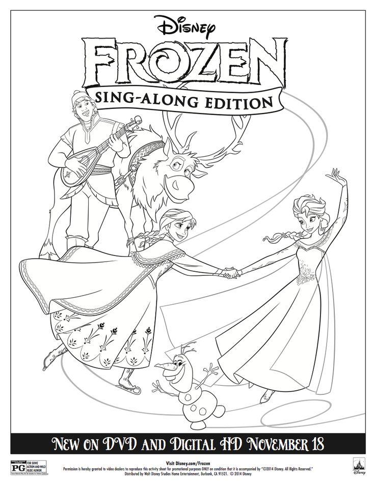 Frozen Coloring Pages Elsa Coronation : Disney frozen sing along coloring sheet