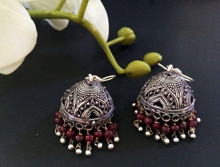 Ruby Jhumka Earrings,Large Silver Jhumkas,Ruby red,Ethnic Jewelry,Indian Tribal Jhumkis, Designer Jhumka by TANEESI by taneesijewelry on Etsy