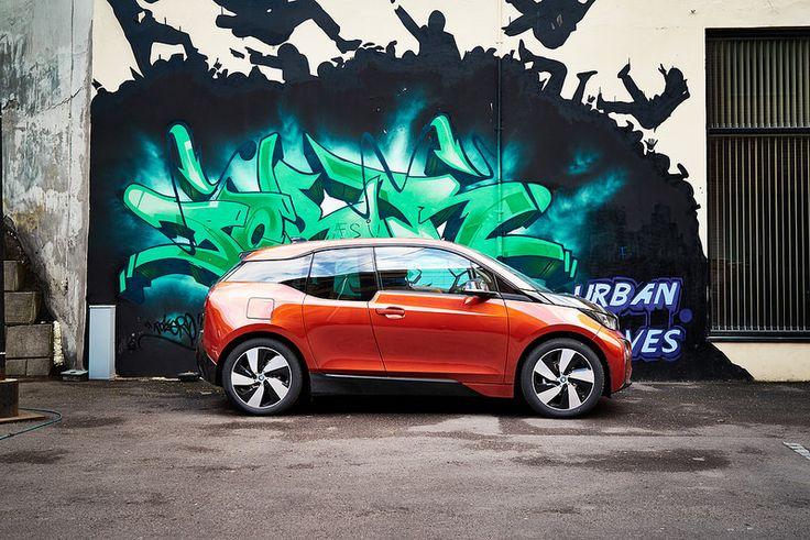 Urban grafitti with small electical BMW