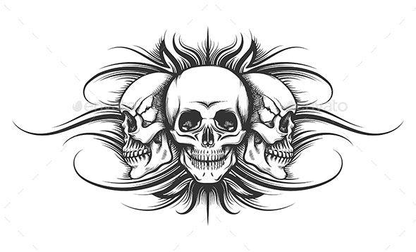 Three Skulls Tattoo Illustration Tattoo Illustration Human Skull Drawing Skull Tattoos
