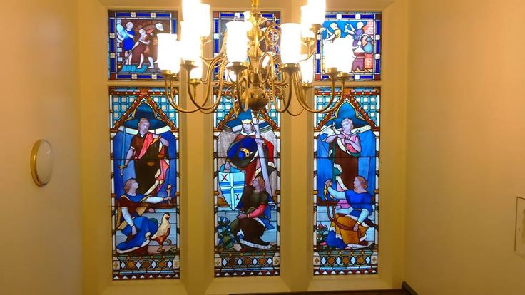 Stained Glass Windows, St Helens Town Hall, St Helens, Lancashire, England.