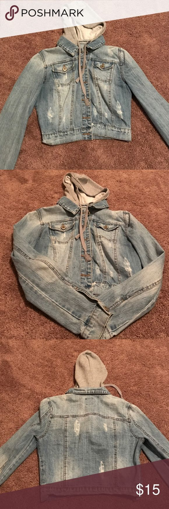 Cute Hooded jean jacket. Light distressed denim jacket with a Cotten hood. Very comfortable. Highway Jeans Jackets & Coats Jean Jackets