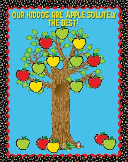 What a great apple themed fall bulletin board idea using CTP's Poppin' Patterns apples.