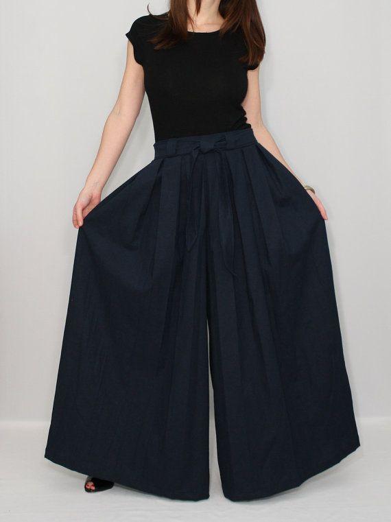 Women Linen pants Navy pants Palazzo pant skirt by KSclothing, $44.00