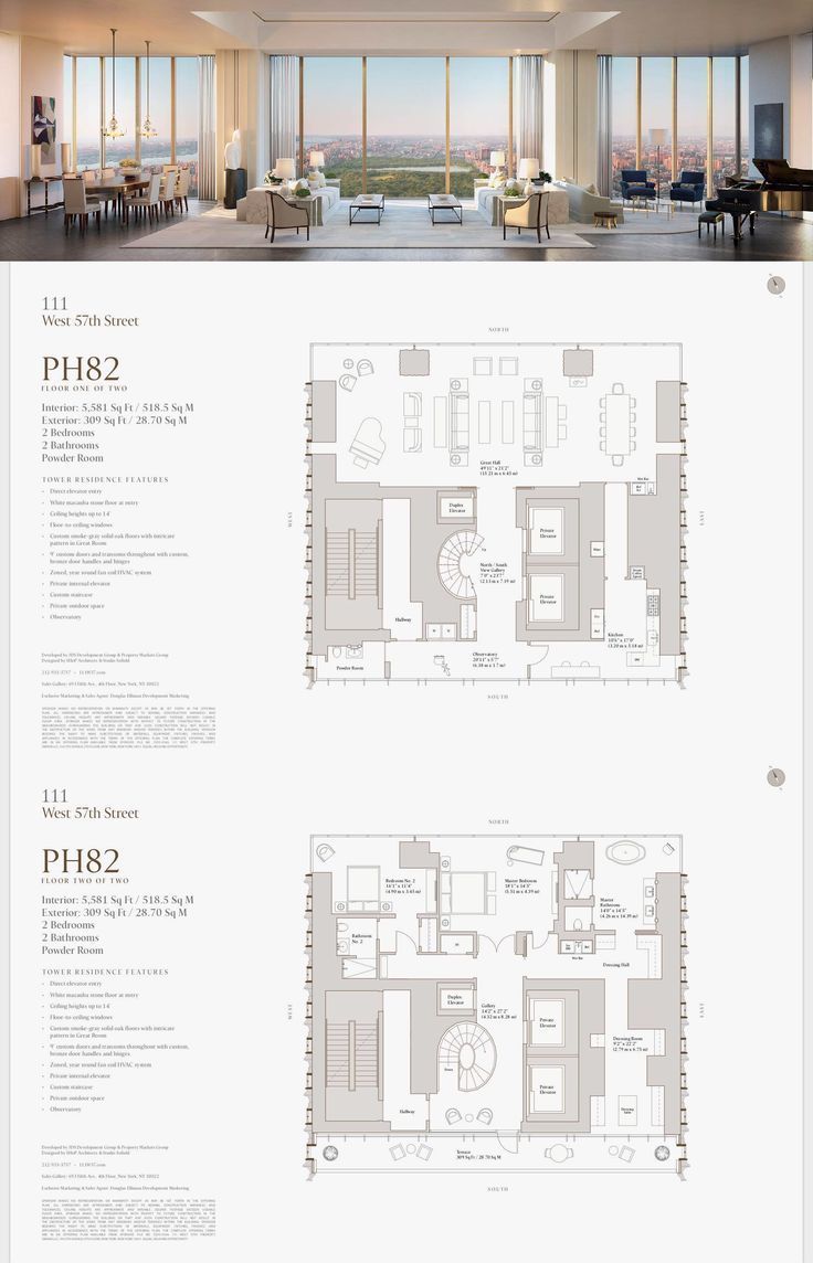 111 West 57th Street PH 82 Penthouse apartment floor