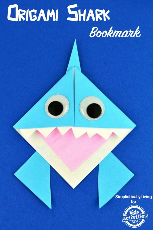 Fun Shark Week craft! make an origami shark bookmark.