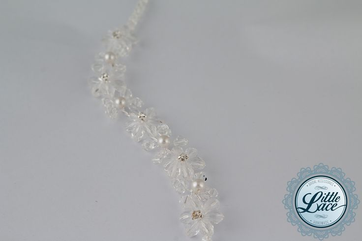 Little Lace Lilly Flower Hair Piece on silver metal with clear beads