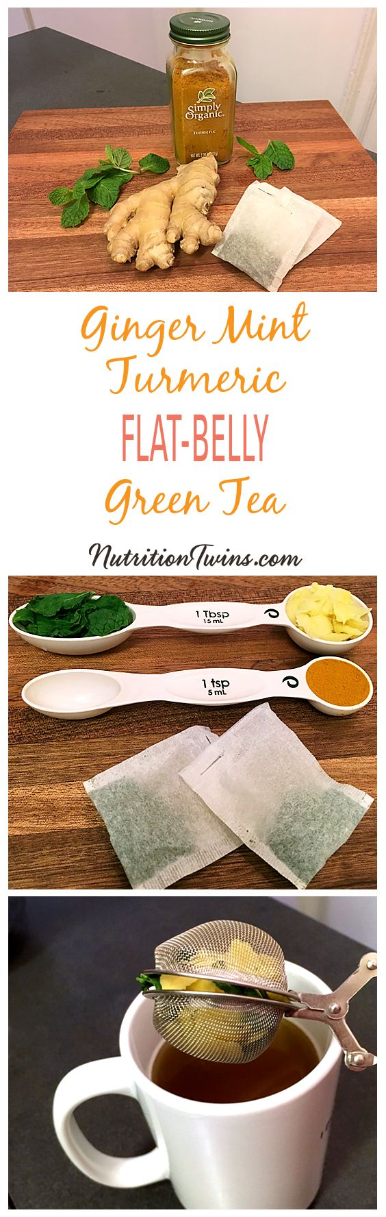 "Ginger Mint Turmeric Green Tea Flat-Belly ""Detox"" 
