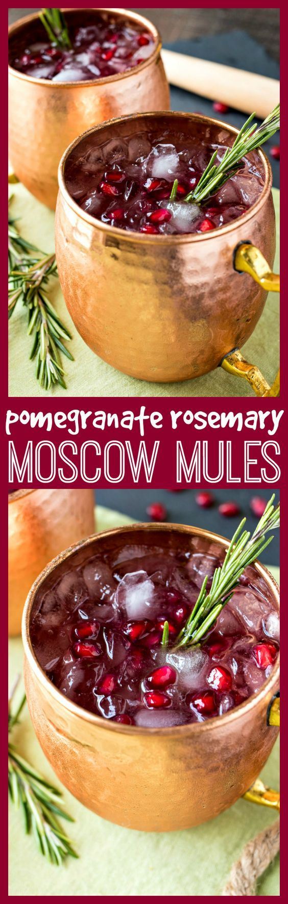 Pomegranate Rosemary Moscow Mule – A festive twist on the classic Moscow Mule, made with bruised rosemary, pomegranate juice and Schweppes ® Ginger Ale #ad #moscowmules #christmas #holidays #Cocktail