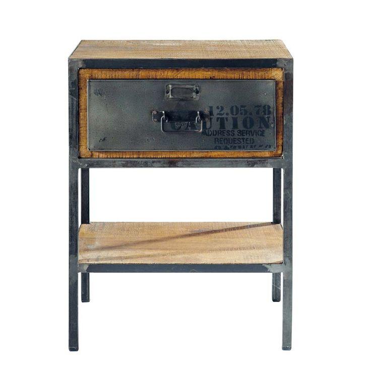 Mesita de noche con cajón de metal negra 45 cm de largo Manufacture