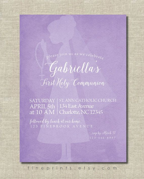 Watercolor silhouette First Communion invitation with calligraphy script